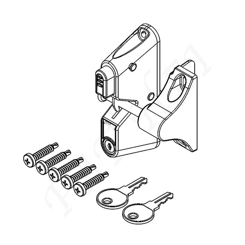 Locking Gravity Latch with One Sided Key Entry