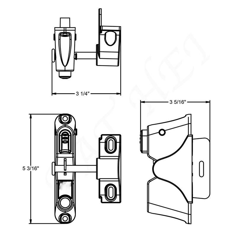 Decorative Plasctic Gravity Latch without Key Entry