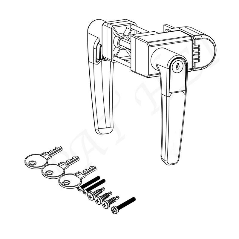 Locking Handle Latch with 2-Sided Key Entry