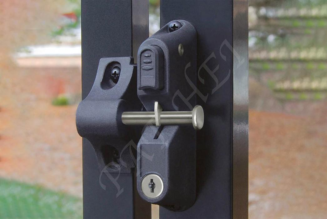 Pat Hei Gate Hardware-Double Gate Latch Locking Gravity Latch With Dual Lock Key Entry Push Button
