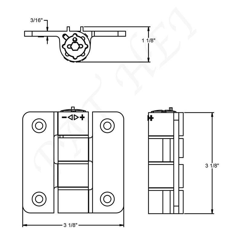 Pat Hei Gate Hardware-Aluminum Compact Butterfly Hinge Small Size Butterfly Hinge   Black Hinges-2