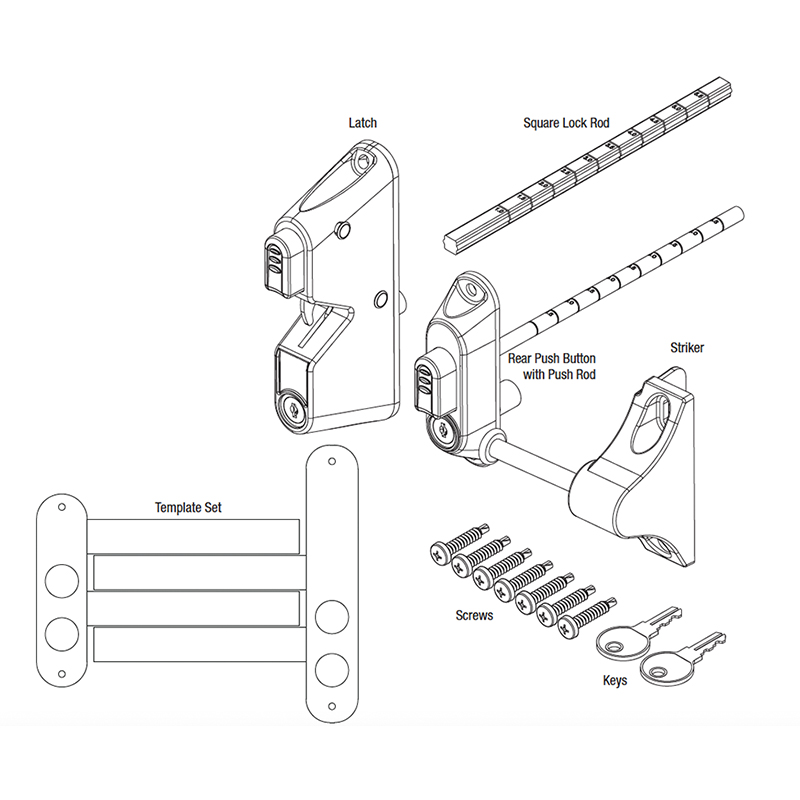 Pat Hei Gate Hardware-Best Door Latch Locking Gravity Latch With 2-sided Key Entry Push Button-2