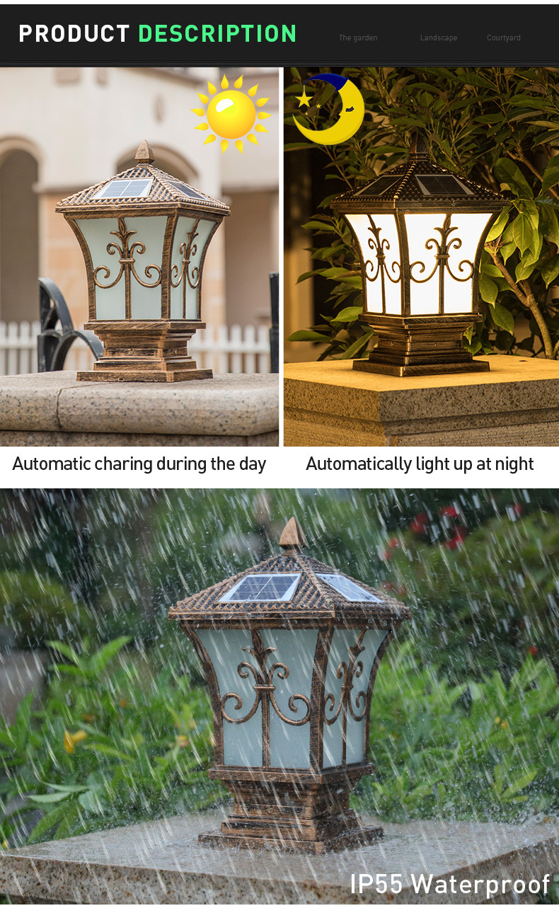 classic solar gate pillar lights dustproof exporter for yard-3