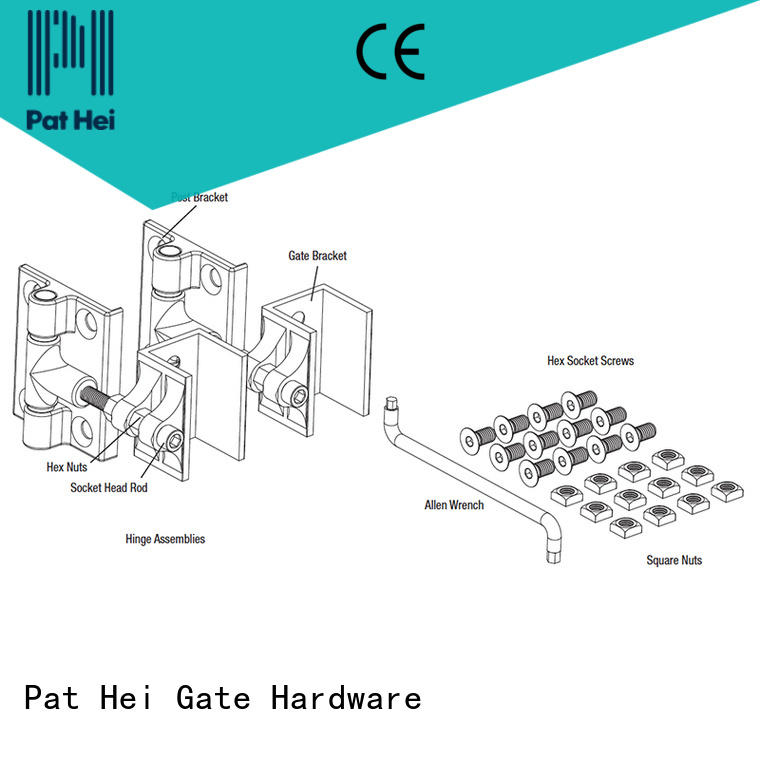 duty aluminum adjustable customized Pat Hei Gate Hardware Brand aluminum gate hinges supplier