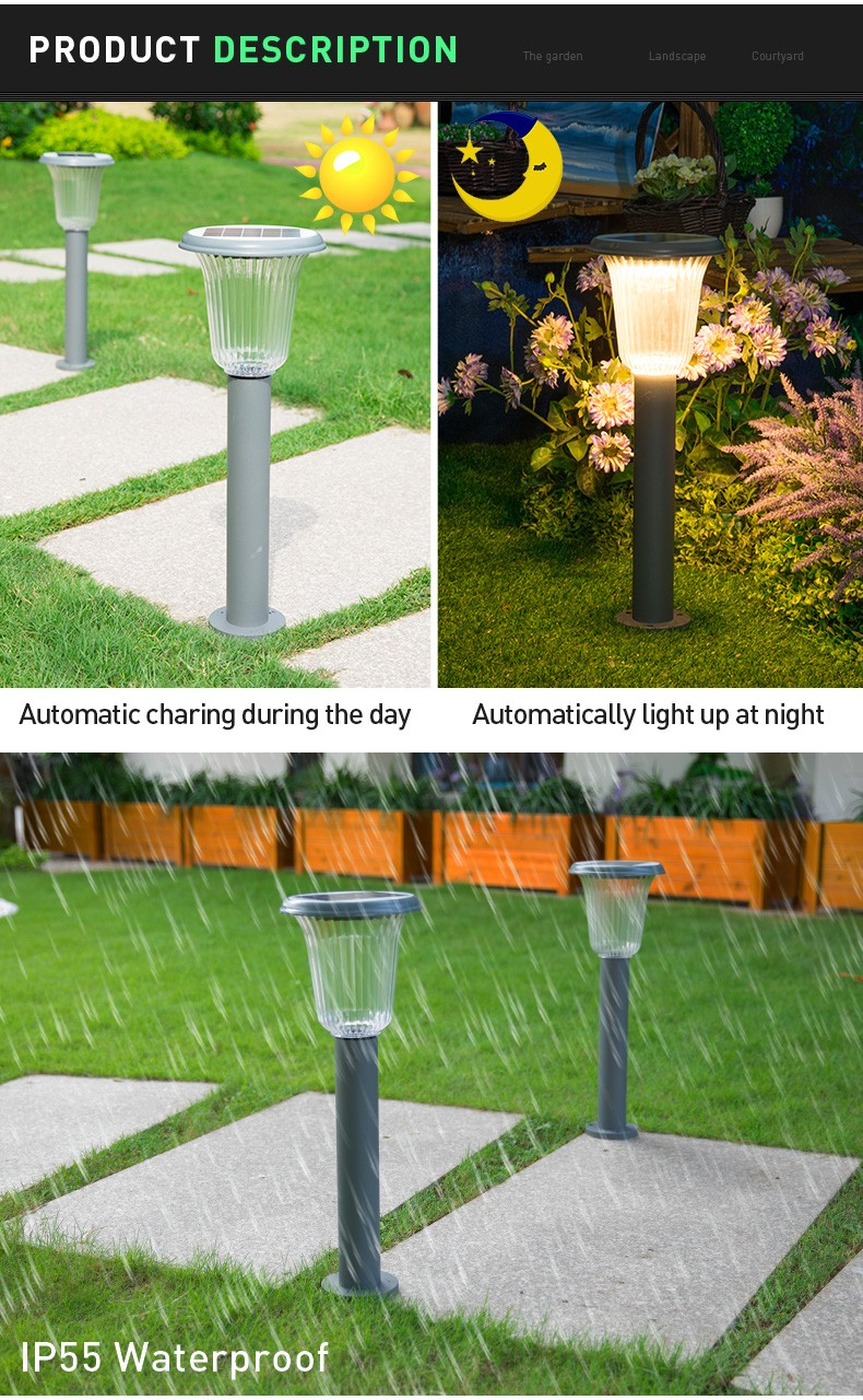 Pat Hei Gate Hardware-Aluminum Wireless Ip55 Waterproof Led Outdoor Solar Powered Lawn Light-pat-3