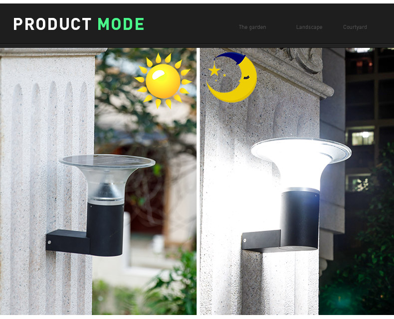 Pat Hei Gate Hardware-Aluminum Wireless Ip55 Waterproof Outdoor Solar Led Wall Light-pat Hei-2