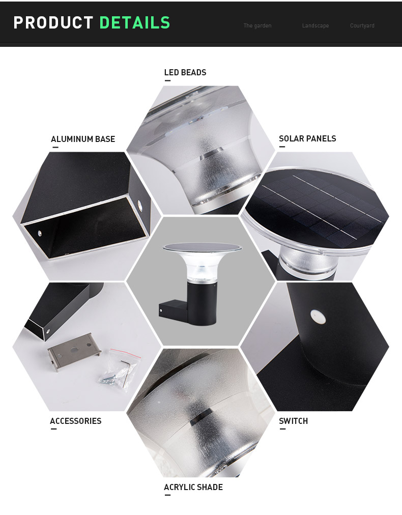 Pat Hei Gate Hardware-Aluminum Wireless Ip55 Waterproof Outdoor Solar Led Wall Light-pat Hei-3