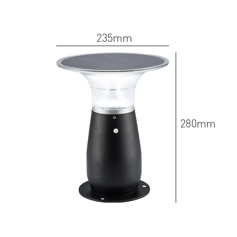 IP55 Waterproof Aluminum Wireless Outdoor Solar Bollard Light
