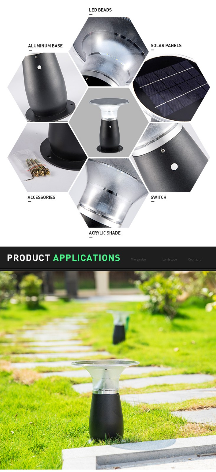 IP55 Waterproof Aluminum Wireless Outdoor Solar Bollard Light-5
