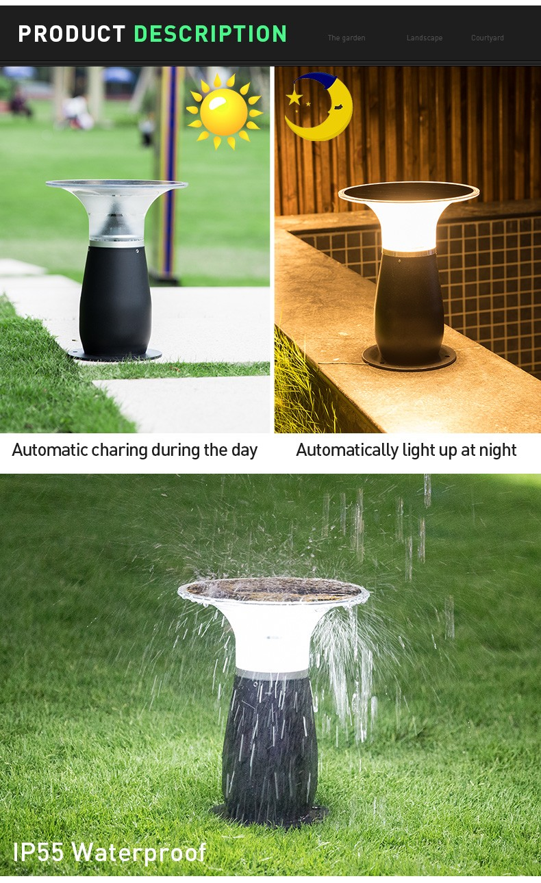 Pat Hei Gate Hardware-Ip55 Waterproof Aluminum Wireless Outdoor Solar Bollard Light-pat Hei Gate-2