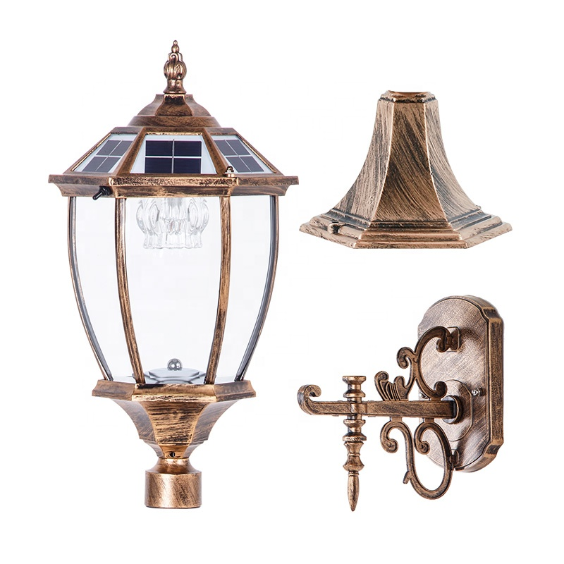 Pat Hei Gate Hardware-Spiked Straight-sided Solar Wall Lamp With Large Suction Wall-pat Hei Gate-1
