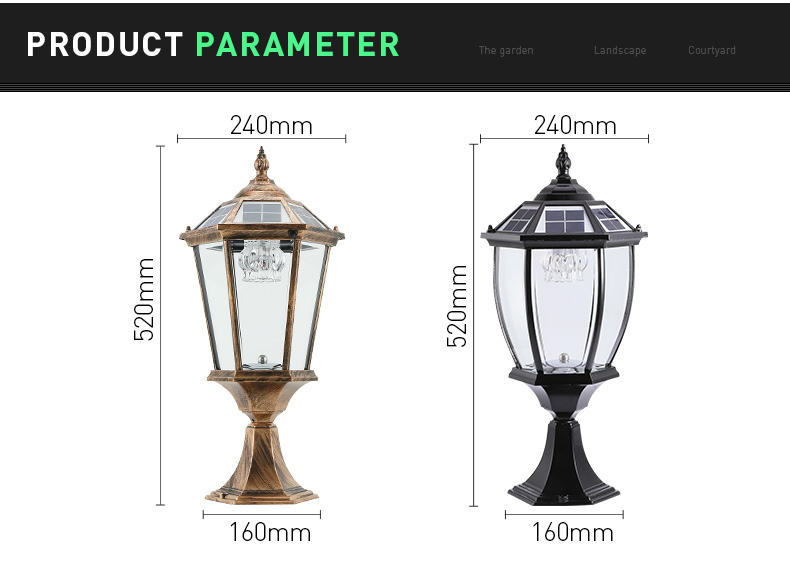 Pat Hei Gate Hardware-Spiked Straight-sided Solar Wall Lamp With Large Suction Wall-pat Hei Gate-2