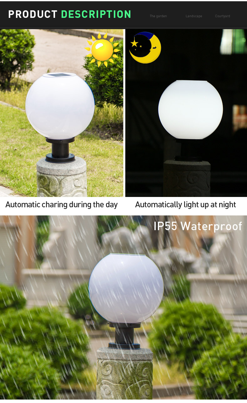 Pat Hei Gate Hardware-Stainless Steel Ip55 Waterproof Solar Led Bulb Lamp-pat Hei Gate Hardware-3