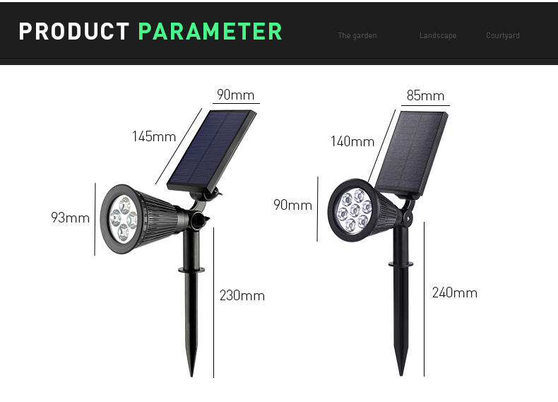 Pat Hei Gate Hardware-Black Abs+pc Multiple Modes Solar Spot Light-pat Hei Gate Hardware-1