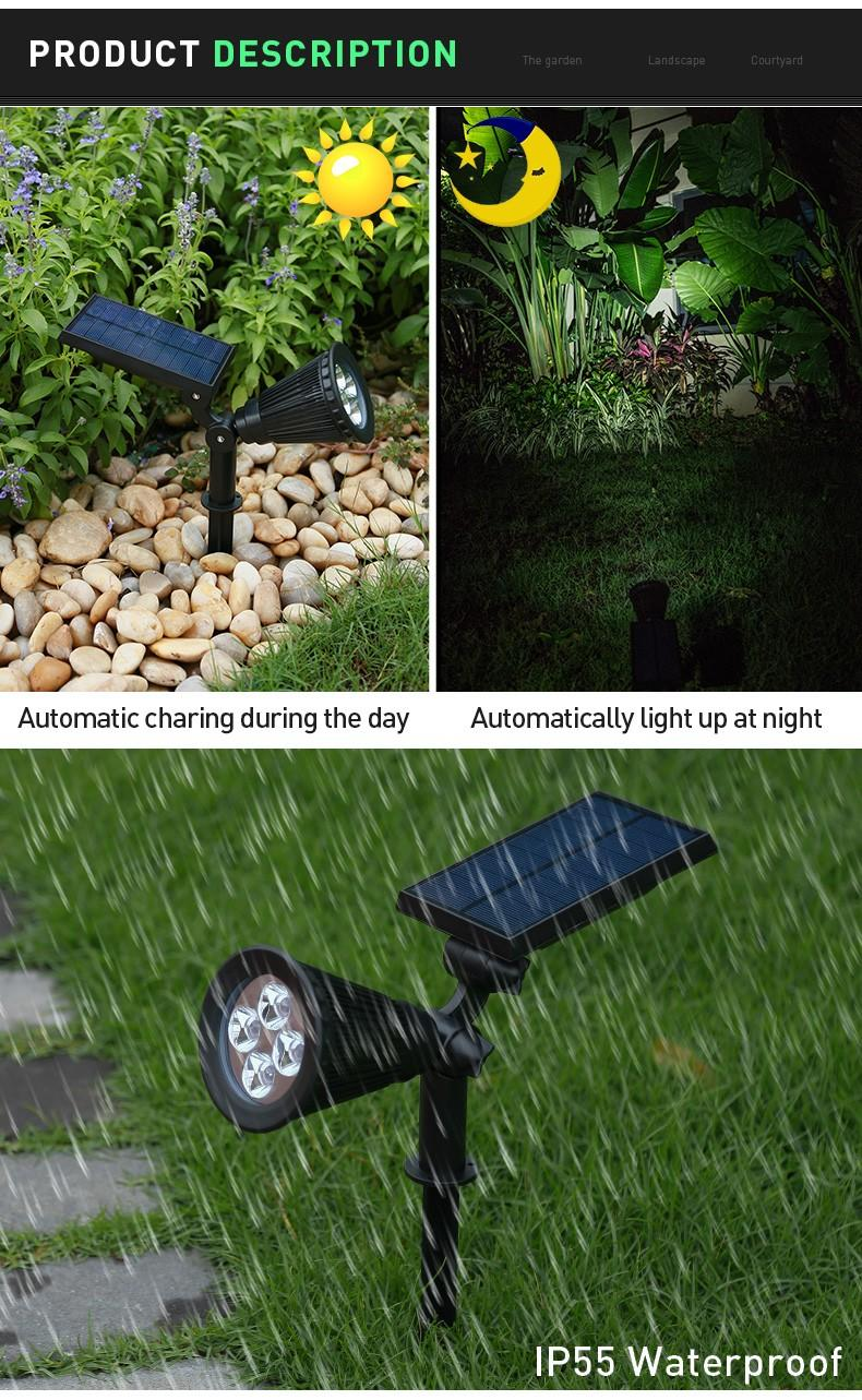 Pat Hei Gate Hardware-Black Abs+pc Multiple Modes Solar Spot Light-pat Hei Gate Hardware-2